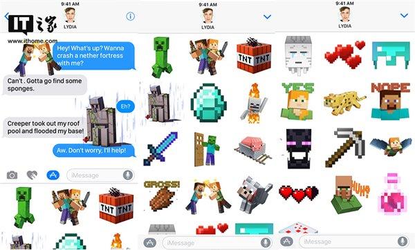 MC Mojang推出苹果iMessage《我的世界》贴纸表情