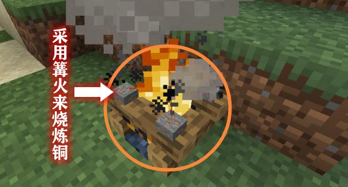 采用篝火来烧炼铜
